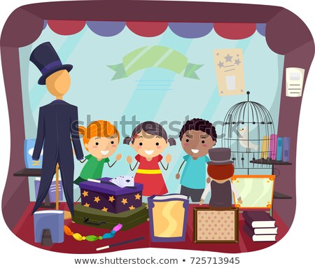 Stickman Kids Magic Window Shop Illustration Stock photo © lenm