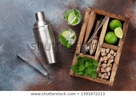mojito · coquetel · ingredientes · preto · borracha · festa - foto stock © karandaev