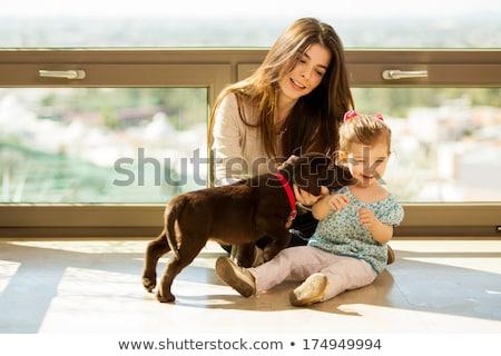 nina · cachorro · nube · Inglés · crema · labrador · retriever - foto stock © lopolo