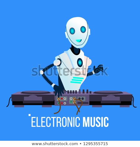 Robot Dj Leads The Party Playing Electronic Music In Night Club Vector. Isolated Illustration Stock photo © pikepicture
