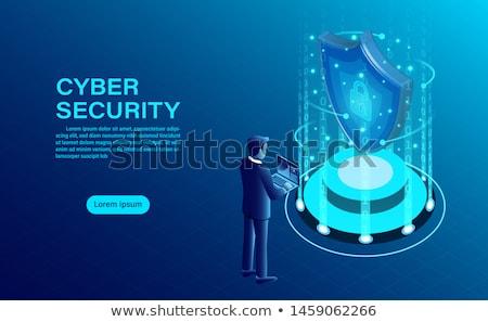 Segurança isométrica bandeira hackers phishing guarda Foto stock © -TAlex-