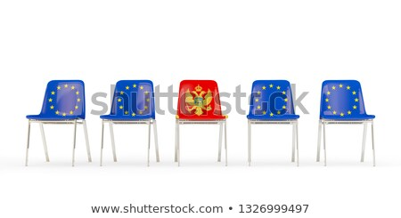 Row of chairs with flag of EU and montenegro Stock photo © MikhailMishchenko