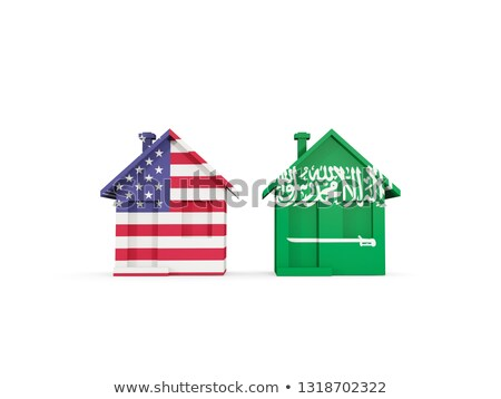 Two houses with flags of United States and saudi arabia Stock photo © MikhailMishchenko