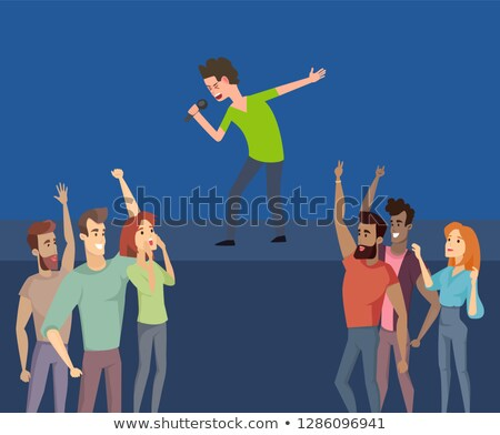 Music Singer on Stage, Crowd of Happy Fans Beneath Stock photo © robuart
