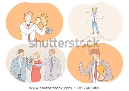 üzleti stratégia siker főnök tart trófea vektor Stock fotó © robuart