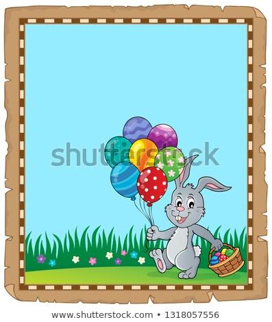 Húsvét nyúl pergamen papír tojás kosár Stock fotó © clairev