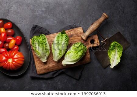 mini · saláta · saláta · paradicsomok · kő · konyhaasztal - stock fotó © karandaev