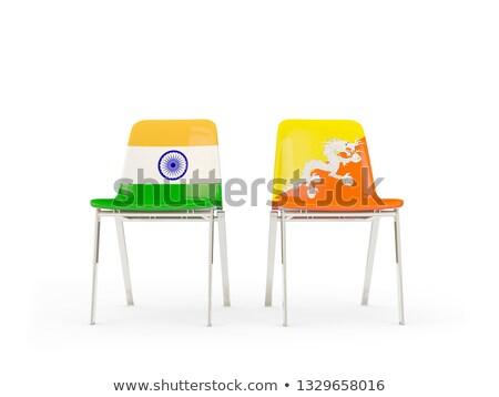 Dois cadeiras bandeiras Índia Butão isolado Foto stock © MikhailMishchenko