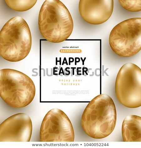 altın · easter · egg · siyah · yumurta · parıltı · vektör - stok fotoğraf © cienpies