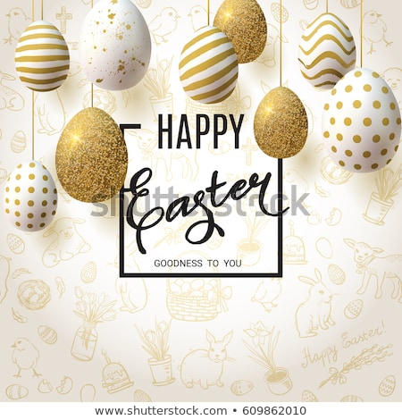 Photo stock: Happy Easter Card Of Spring Egg Hunt With Flowers