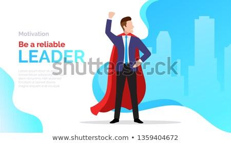 Confiável líder motivar cartaz empresário vermelho Foto stock © MarySan