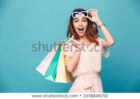 Einkaufstaschen · Frau · aufgeregt · Warenkorb · roten · Kleid - stock foto © deandrobot