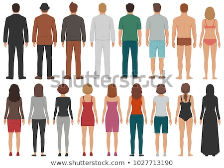 Cartoon People Isolated Man and Woman Back View Stock fotó © robuart
