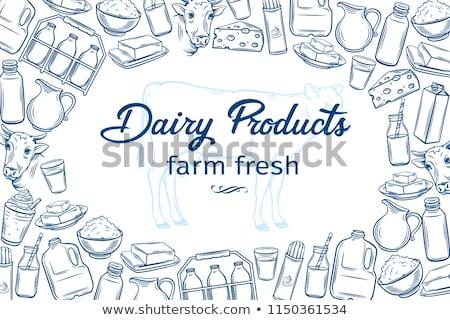 Farmer with Milky Product Vector Illustration Сток-фото © robuart