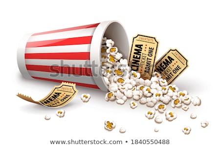 Popcorn papieru wiadro pełny kubek złota Zdjęcia stock © LoopAll