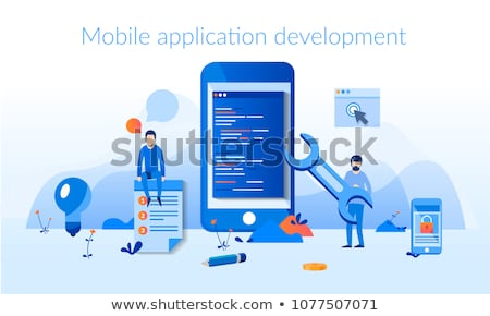 mobile application and mobile app development concept flat vector illustration stock photo © makyzz