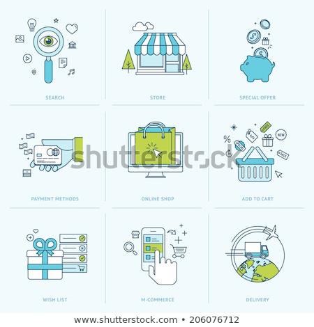 Lijn winkelen betaling mobiele abstract netwerk Stockfoto © makyzz