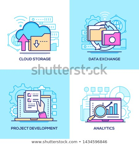 business and technology   colorful line design style icons set stock photo © decorwithme