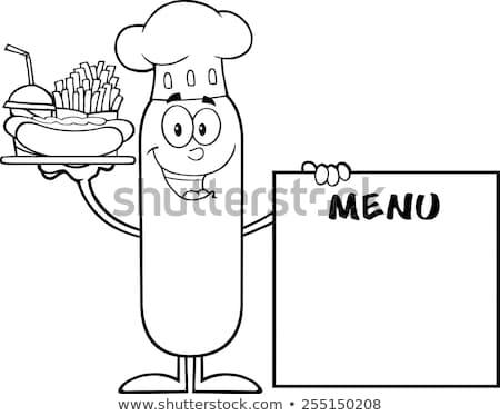 Zwart wit chef worst hot dog Stockfoto © hittoon