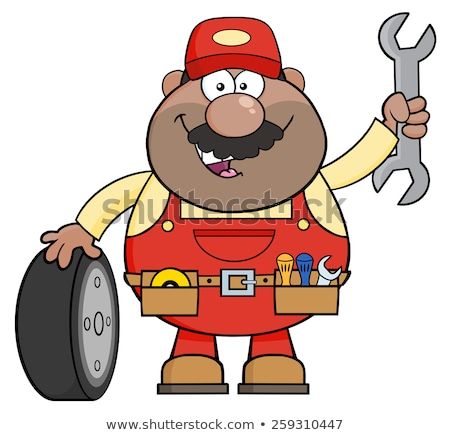 smiling african american mechanic cartoon character with tire and huge wrench stock photo © hittoon