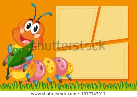 Caterpillar on on note template Stock photo © bluering