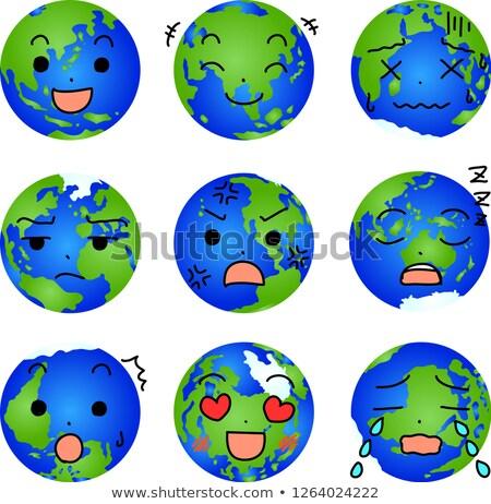 Illustration of a round gradation blue earth set Stock photo © Blue_daemon