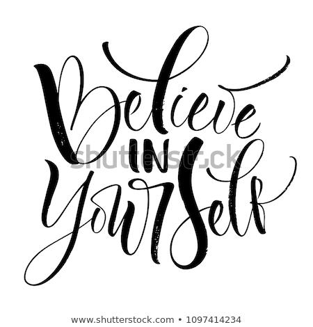 Stock fotó: Modern Calligraphy Ink Of Word Yourself Vector
