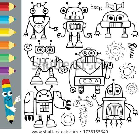funny robots cartoon characters group Stock photo © izakowski