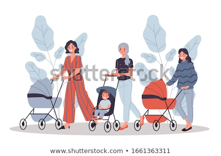 Happy Motherhood Mom and Baby in Pram Website Stock photo © robuart