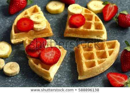 Waffles with strawberries and banana Stock photo © furmanphoto