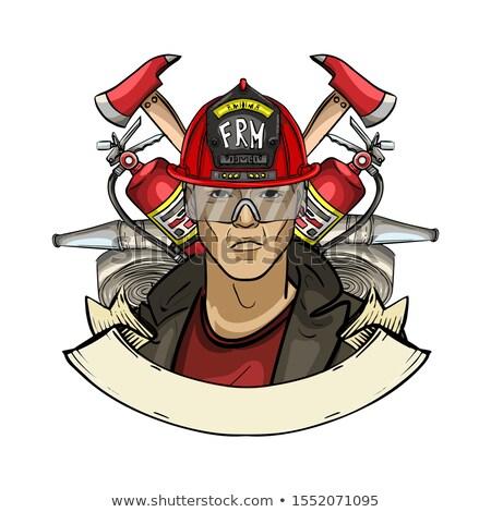 Esboço bombeiro cor crânio fogo Foto stock © netkov1