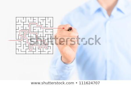 dessin · puzzle · Homme · main · verre · bord - photo stock © ra2studio
