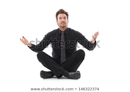 Stock photo: Businessman in tailor seat waiting for good luck
