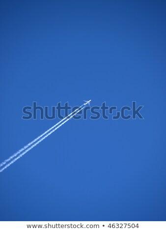 branco · condensação · trilha · jato · azul · blue · sky - foto stock © galitskaya