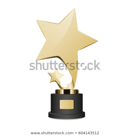 Stock photo: Golden Trophy Cup with Large and Small Star Icon