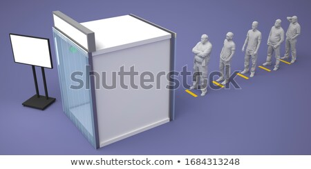 3d small people   information booth stock photo © dragoneye