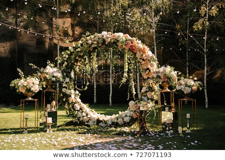 Foto d'archivio: Arch · cerimonia · di · nozze · decorato · panno · fiori · texture