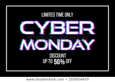 Cyber monday sale discount poster or banner with glitch Stock photo © SwillSkill