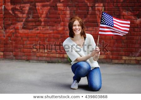 Persoon USA vlag kaart lippen Stockfoto © ra2studio