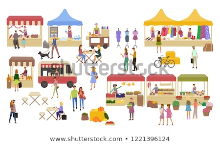 Marketplace Butchers and Clothes Shopping Vector Stock photo © robuart