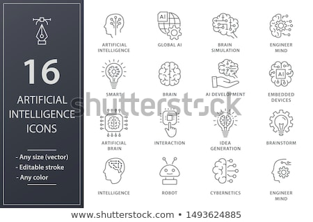 artificial intelligence line icons stock photo © anna_leni