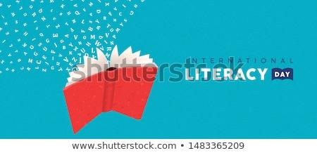 Műveltség nap kártya repülés könyv ábécé Stock fotó © cienpies