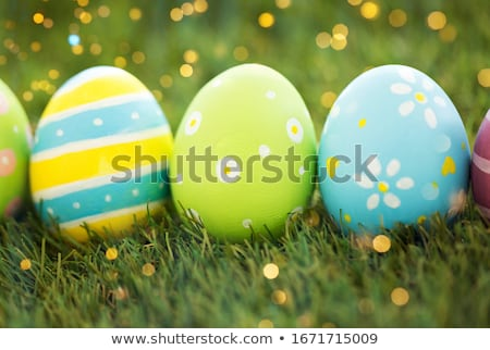row of colored easter eggs on artificial grass Stock photo © dolgachov
