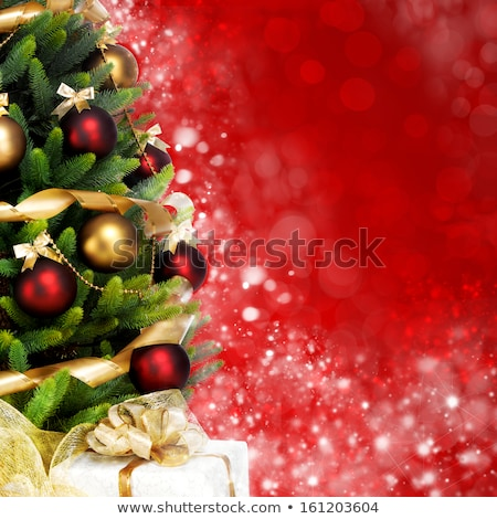 Christmas magic holiday background, festive baubles, red vintage Stock photo © Anneleven