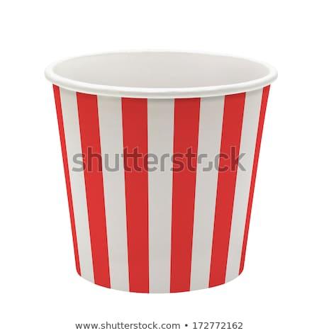 Közelkép pattogatott kukorica eldobható papír csészék gyorsételek Stock fotó © dolgachov