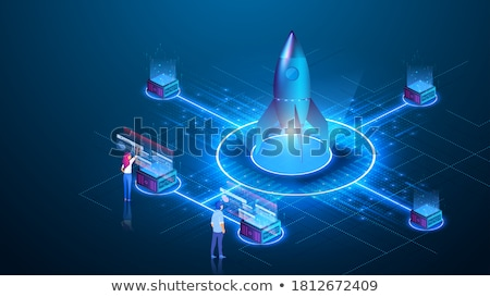 Business Startup Rocket and People with Laptop Stock photo © robuart
