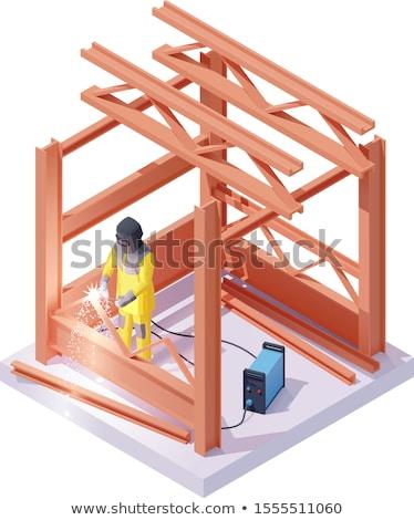 Vetor isométrica soldador soldagem trabalhar trabalhador Foto stock © tele52