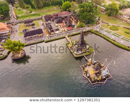 Photo from the drone. Aerial view of Pura Ulun Danu Bratan, Bali. Hindu temple surrounded by flowers Stock photo © galitskaya