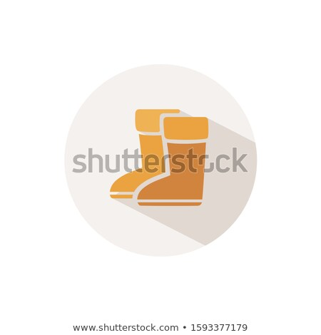 Rain boots. Icon with shadow on a beige circle. Fall vector illustration Stock photo © Imaagio