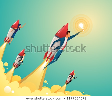 Startup Project Symbol, Businessman and Rocket Stock photo © robuart